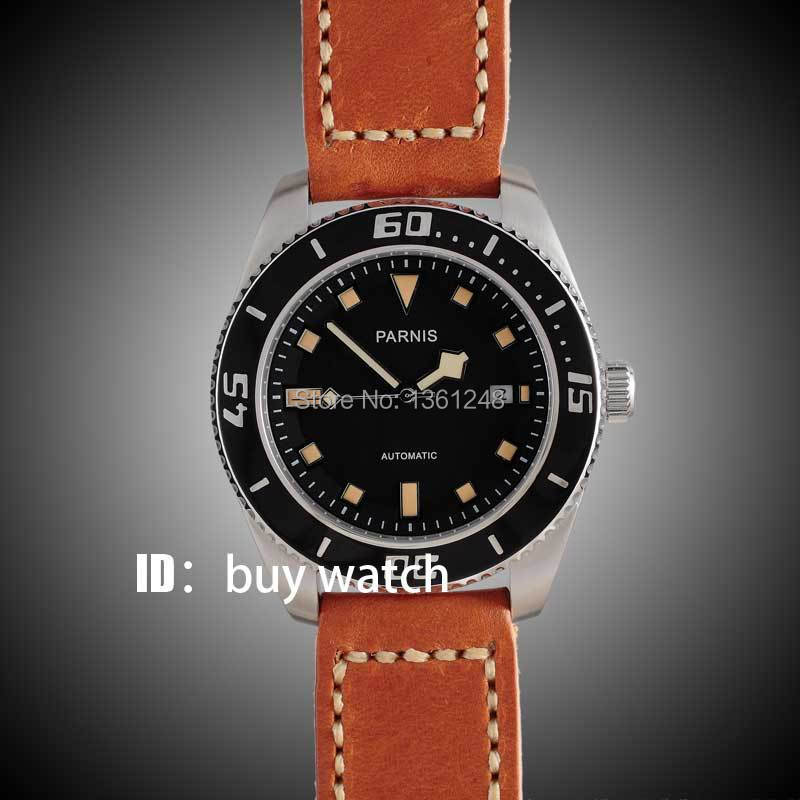 все цены на 43mm Parnis black dial orange marks sapphire glass miyota Automatic mens Watch 10ATM black bezel 149 онлайн