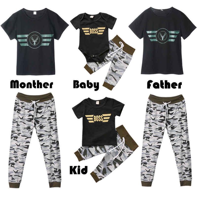 """משפחה Camo נשים התאמת חולצות Romper בגדי ילד איש חולצת טריקו Camo מכנסיים תלבושות ארה""""ב"""