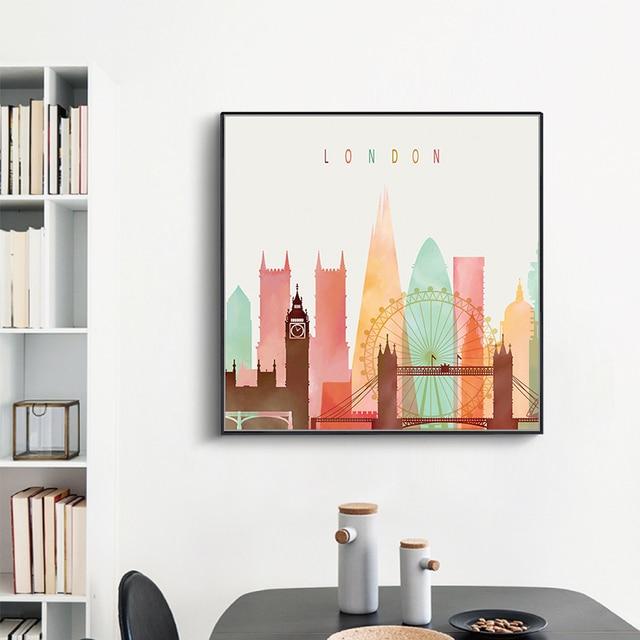 VOLLES HAUS Kreative Farbe Stadtbild Kunstdruck Poster Wohnzimmer Leinwand  Malerei Wandbilder Modern Style Home Decor Kein