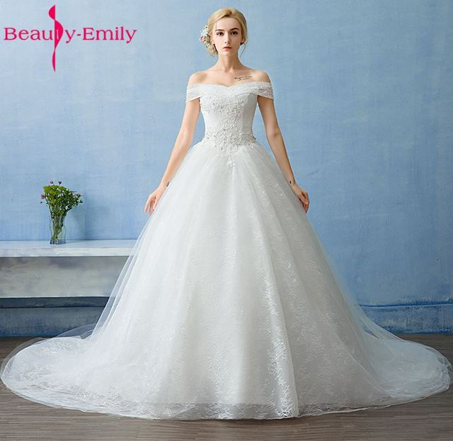 Beauty Emily Luxury Lace Ball Gown Wedding Dresses 2017 Boat Neck ...