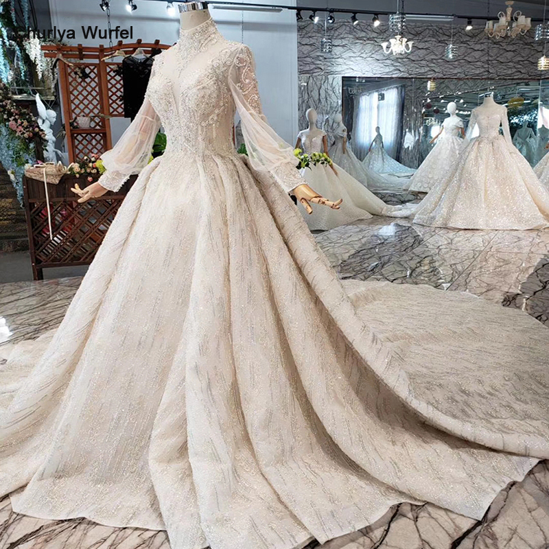 HTL315 Luxury Wedding Dresses High Quality Handmade Beaded Crystal Bridal Dress For Girl High Neck Long Sleeve Robe De Mariee