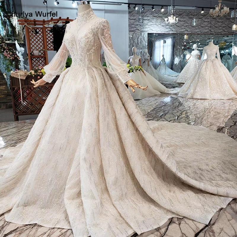 Роскошные свадебные платья HTL315, высокое качество, ручная работа, Украшенные бусинами и кристаллами, платье для девочек с высоким воротом и длинным рукавом, robe de MarieСвадебные платья    АлиЭкспресс