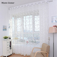 Warm Corner LM Fashion Flower Curtain Yarn For Bedroom Rustic Sheer Curtain Tulle Size 200X100cm Free