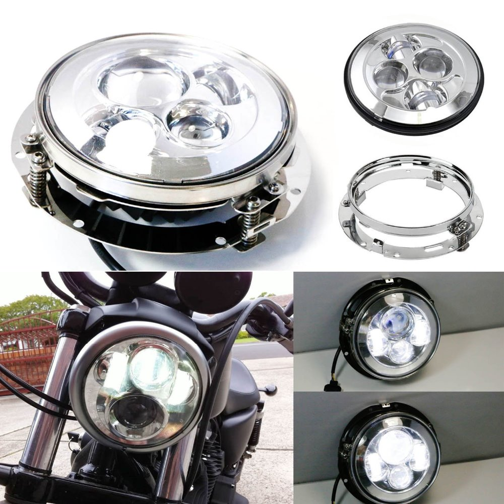 7'' inch 40W  Motorcycle LED Headlight for Harley Davidson  with Mounting Bracket Ring 7inch led headlight