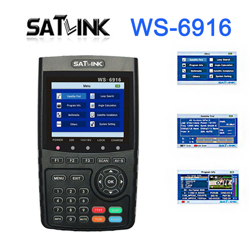 Satlink WS-6916 Satellite Finder HD DVB-S2 High Definition Satellite Meter MPEG-2/MPEG-4 With 3.5 LCD satlink ws 6979se satellite finder meter 4 3 inch display screen dvb s s2 dvb t2 mpeg4 hd combo ws6979 with big black bag