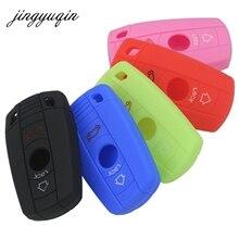 Jingyuqin 3 Nút Silicon Chìa Khóa Xe Ô Tô Dành Cho Xe BMW 1 3 5 6 Series E90 E91 E92 E60 Phím Remote vỏ Chìa Khóa Thông Minh Smart Key Fob Bao