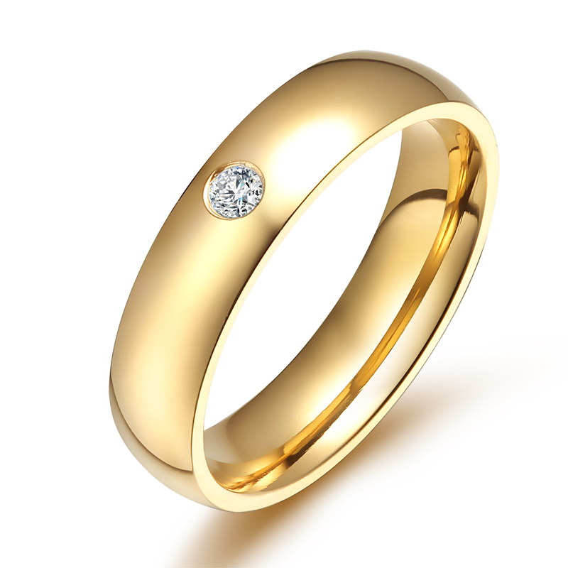 Vnox Classic Wedding Rings For Women Men Gold Color Stainless