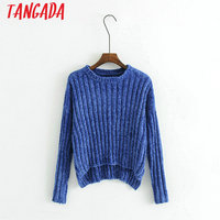 Tangada Fashion Blue Short Knitted Sweater Long Sleeve Chenille Cropped Pullover Women O-neck Winter Autumn 2017 High Quality JH