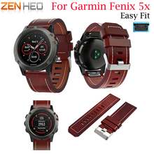 2018 High Quality Leather Replacement Band Strap For Garmin Fenix 5X/5X Plus watchband Quick Release 5X