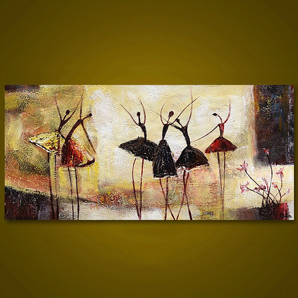 Unframed 3 Panel Handpainted Ballet Dancer Abstract Modern Wall Art ...