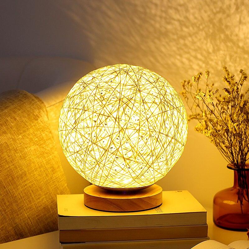 15/20CM Cane Ball LED Night Light USB Soft Light Wood Desk Table Lamp For Baby Sleepping Lighting Bedroom Atmosphere lamp