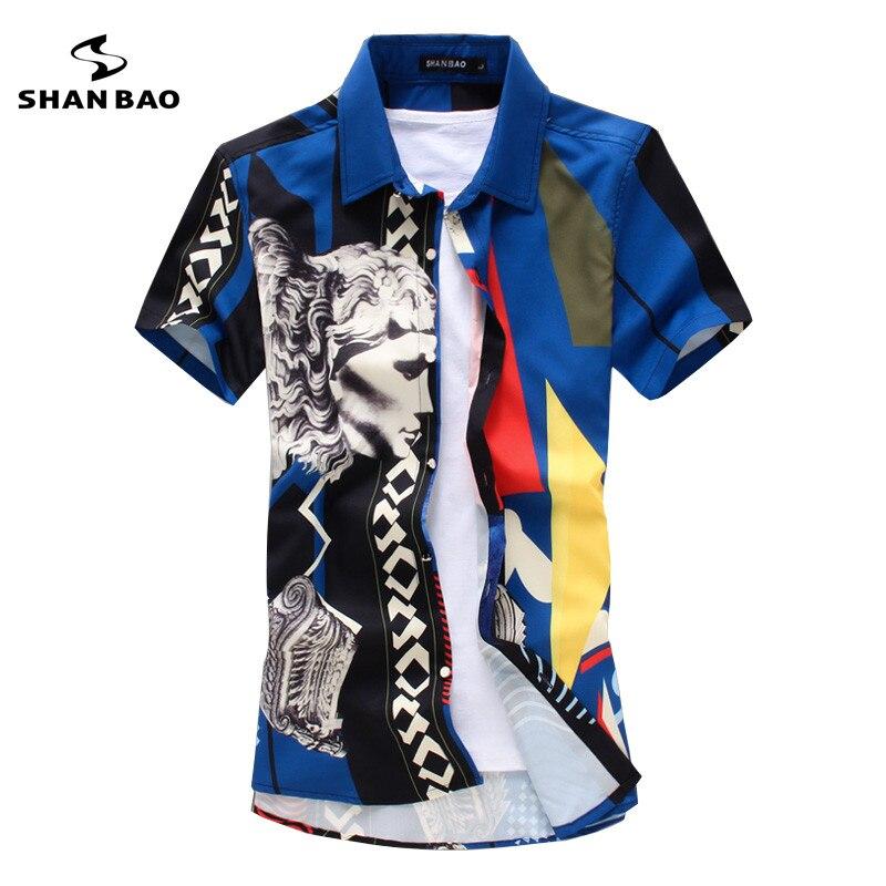 SHANBAO Brand Men's 3D Pattern Printing Fashion Popular Short-sleeved Shirt Luxury High-quality Business Casual Shirt Summer