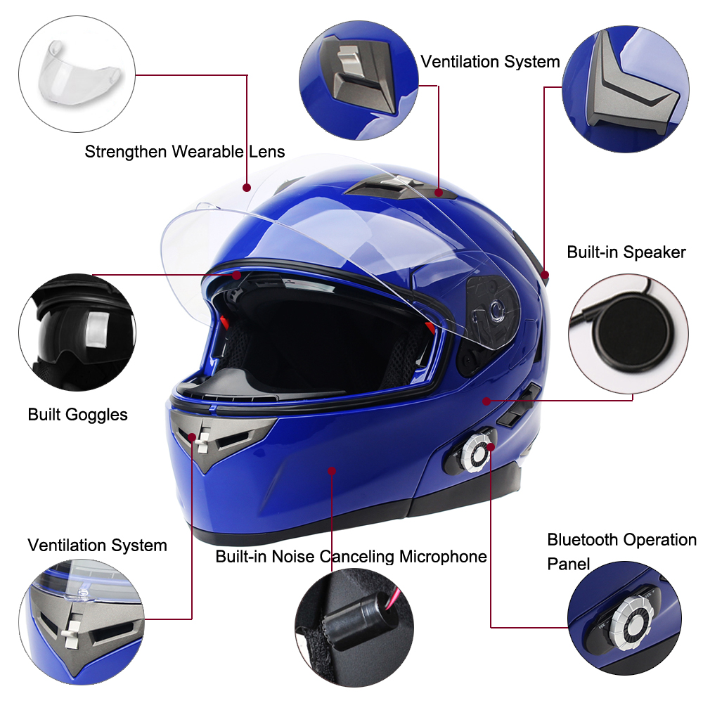 2017 New Arrival BM2 S Smart Motorcycle Bluetooth Helmet Built In Intercom System With FM Radio