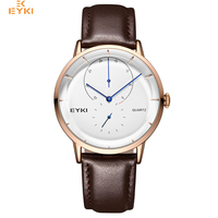 EYKI Brand Men Genuine Leather Quartz Watches Male Simple White Dial Business Wrist Watch Clock Fashion