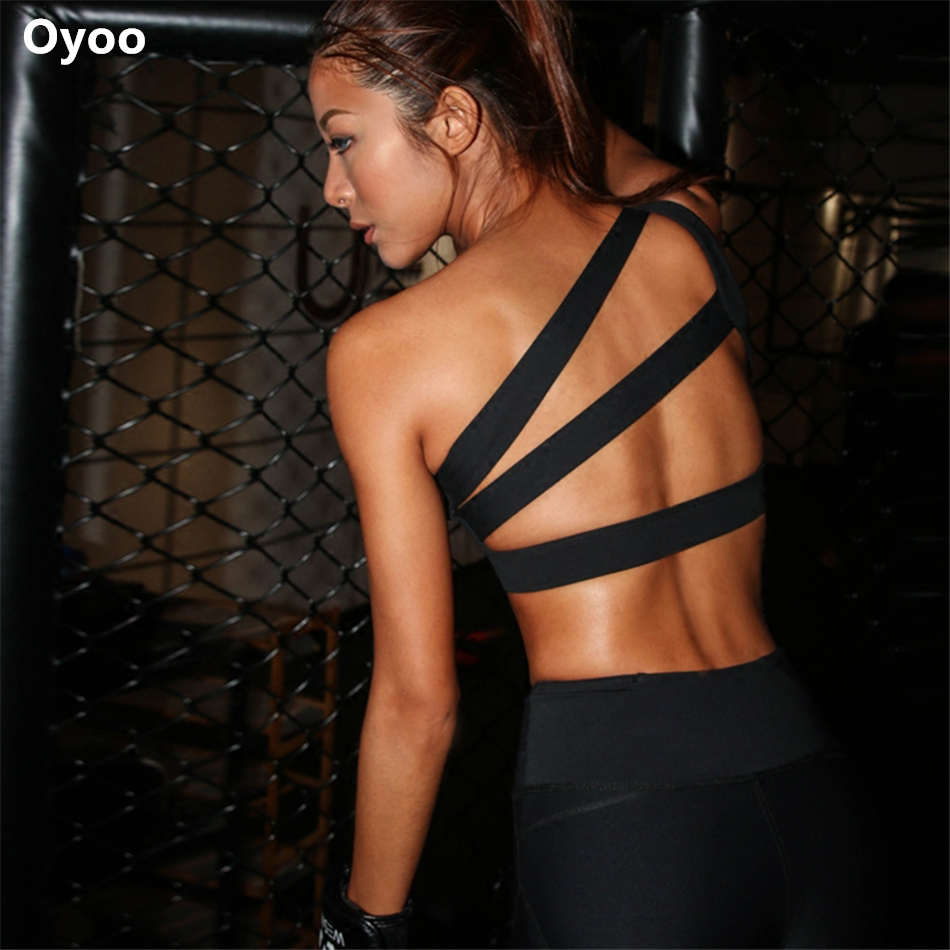 Oyoo Best Quality One-shoulder Push Up Sports Bra Sexy Cross Back Strappy Athletic Bra Top Gym Activewear Fitness Yoga Brassiere