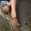 Original design autumn genuine leather shoes tassel cowhide flat heels 2017 new leisure round toe  women's shoes 3618-2