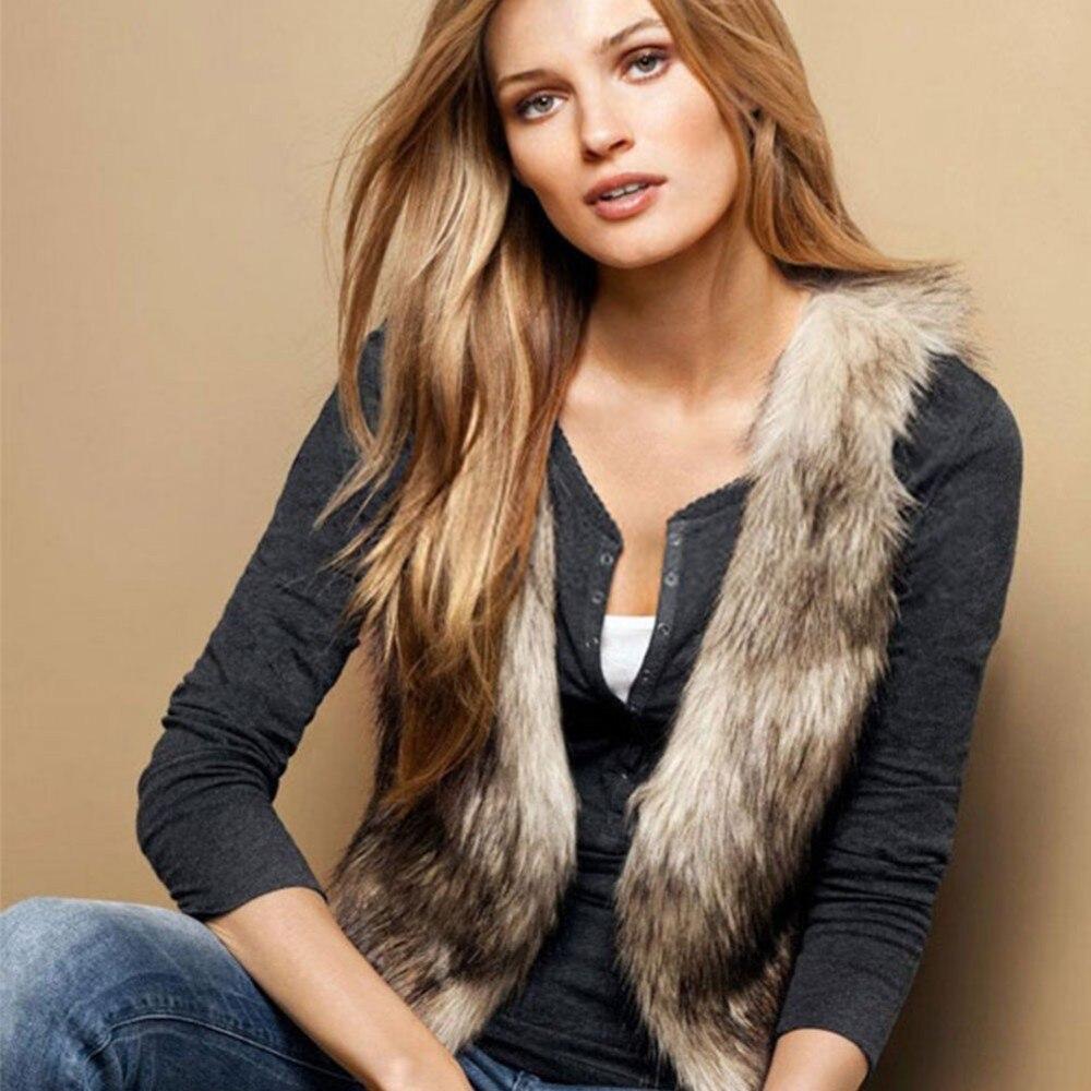 2018 Fur Vest Women Winter Fake Fur Vest Cute Faux Fox Fur Vest Woman Faux Fur High Quality curved faux fur vest