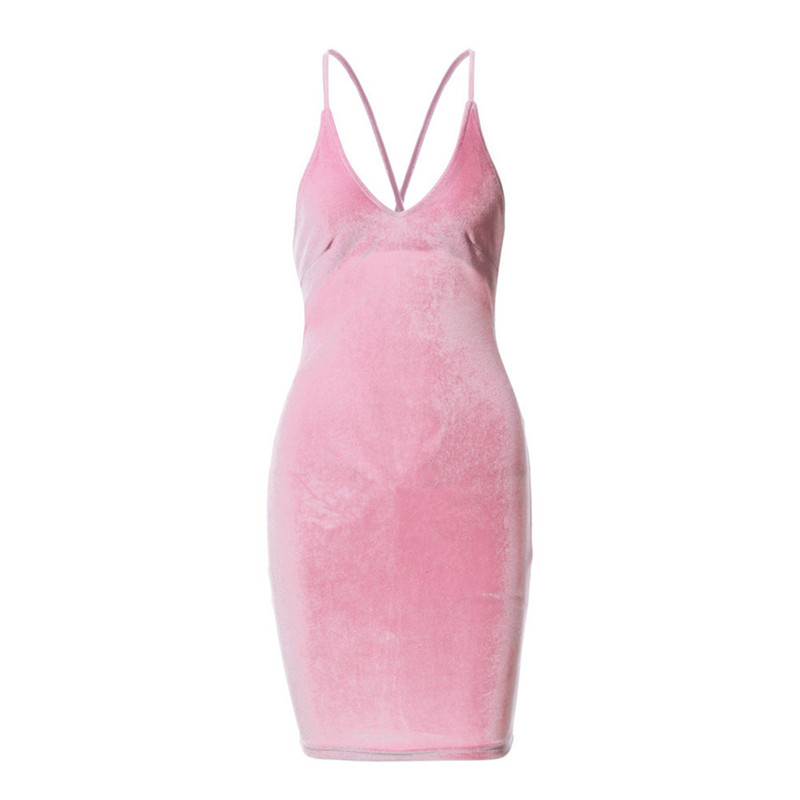 00dff53a7a4 2017 Plus Size Women Sexy Bandage Cross Velvet Slip Dress V neck Spaghetti  Strap Bodycon Night Club Wear Backless Party Dresses-in Dresses from Women s  ...