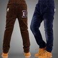 2015 niños de la ropa del invierno pantalones para niños pantalones caliente de invierno muchacho niño engrosamiento adolescente de pana recreacional y pantalones de chándal