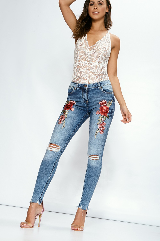 HTB1H29ORVXXXXX3XFXXq6xXFXXXZ - FREE SHIPPING 3 Colors Women Flower Embroidery Hole Jeans High Waist Pencil Pants Skinny Denim Trousers JKP295
