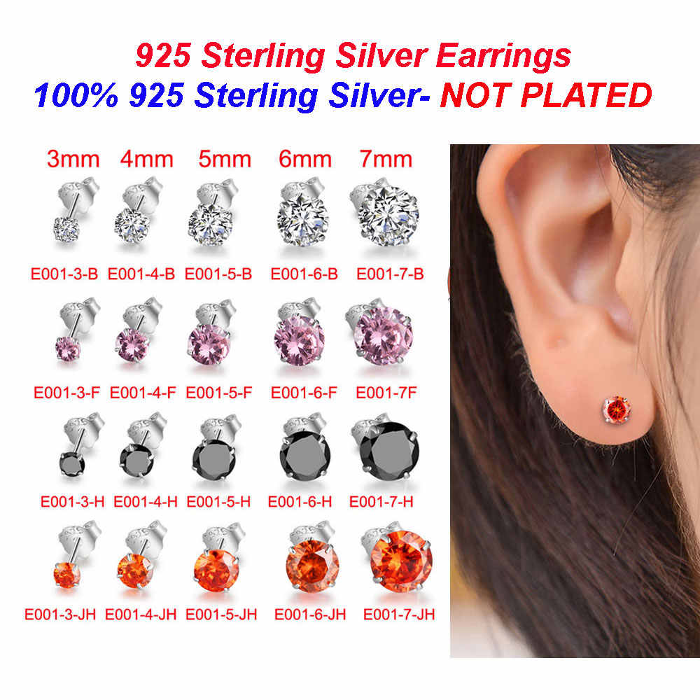 100% Real 925 Sterling Silver Cubic Zirconia Stud Earrings Wholesale Vnistar 3-7mm 4 colors CZ Ear Studs for Women