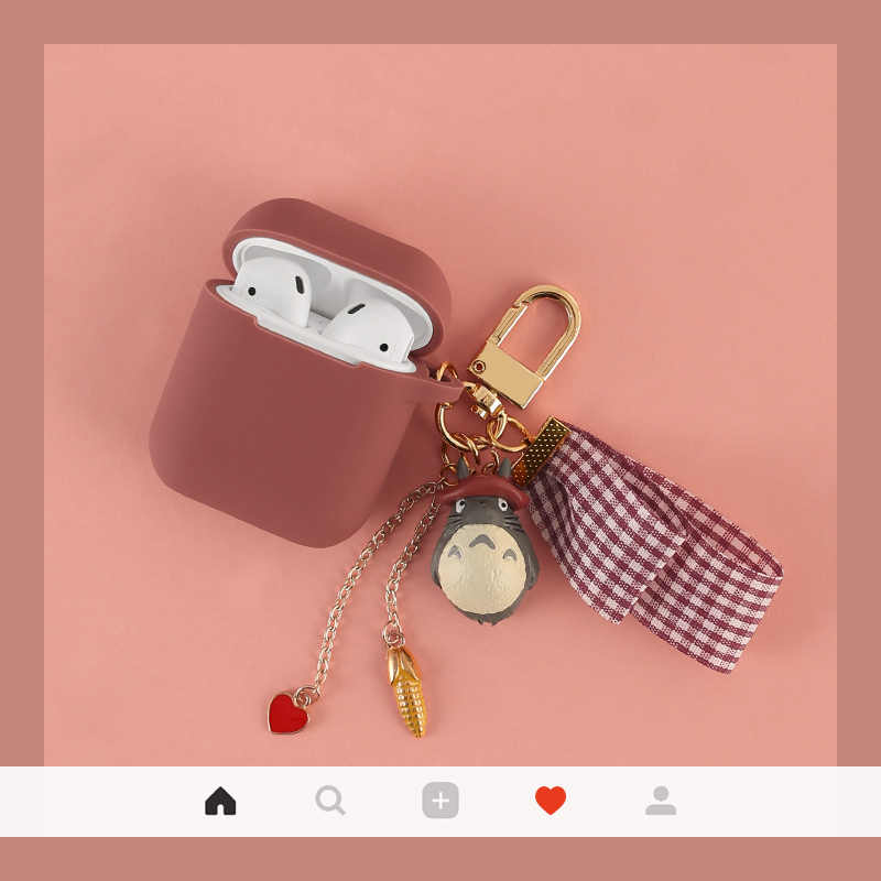 Cute Cartoon Protective Cover For Airpods Case Silicone Blutooth Wireless for Apple Airpods Charging Box with Keyring