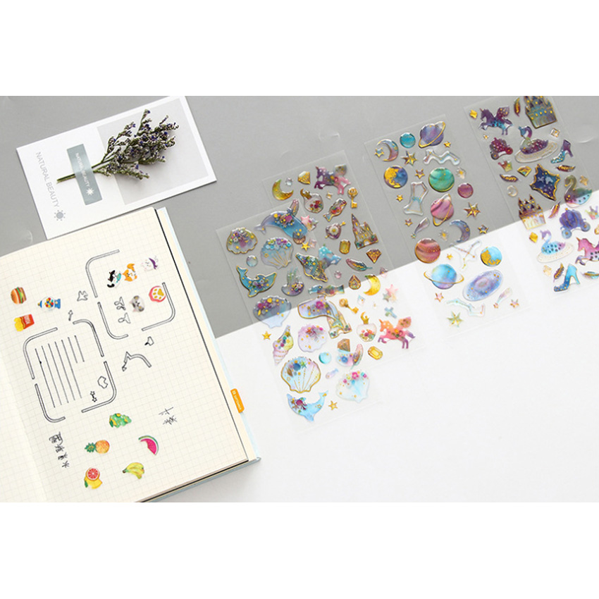 1pcs/lot Lovely Dream Hot Stamping Crystal Epoxy Sticker  DIY Decorative self-adhesive Stickers