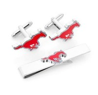 CF0895 Top Fashion SMU Mustangs Cufflinks And Tie Bar Gift Set For Men Jewelry Wholesale And