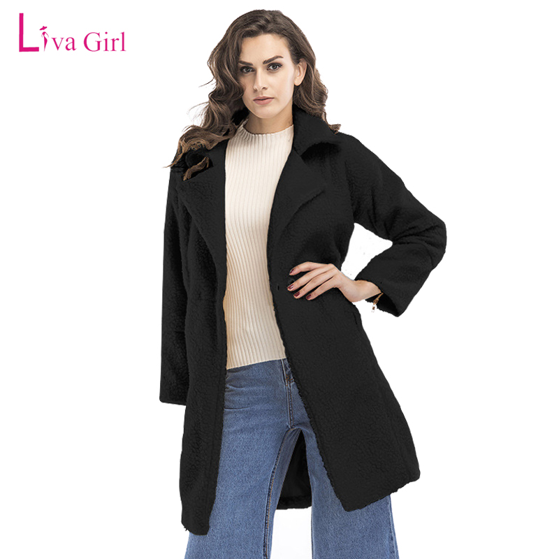 2018 Sale Cotton Full New Winter Coat Women Wool Elegant Long Solid Spliced Jacket Lady Warm Coats High Quality Manteau Femme