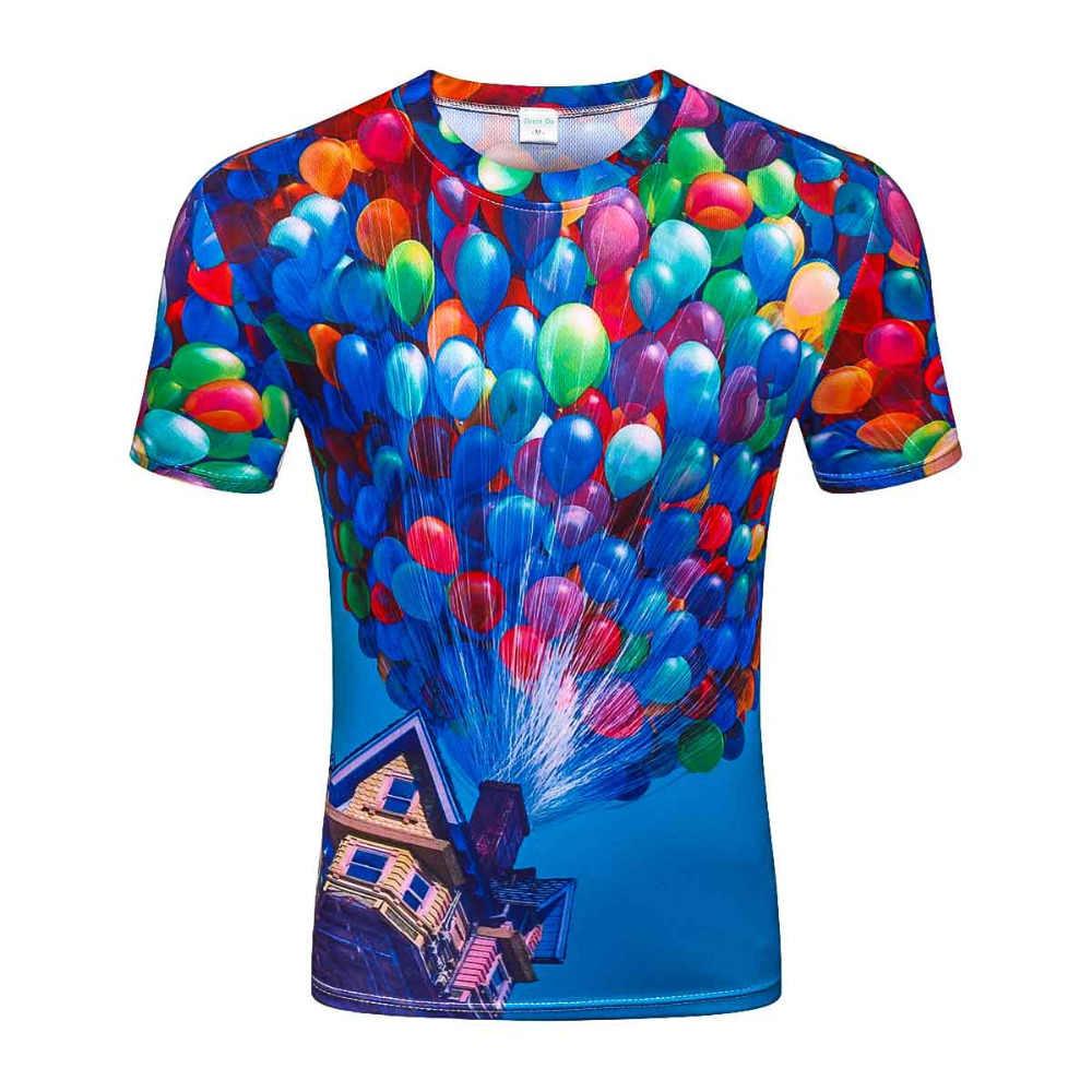 Модная мужская и женская футболка с круглым воротником для отдыха с 3d принтом «воздушный шар», футболка с короткими рукавами, летние крутые Забавные футболки
