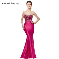 Romantic Fuchsia Mermaid Beaded Embroidery Evening Dresses 2018 Sexy Sweetheart Formal Women Lace Party Prom Gowns robe longue