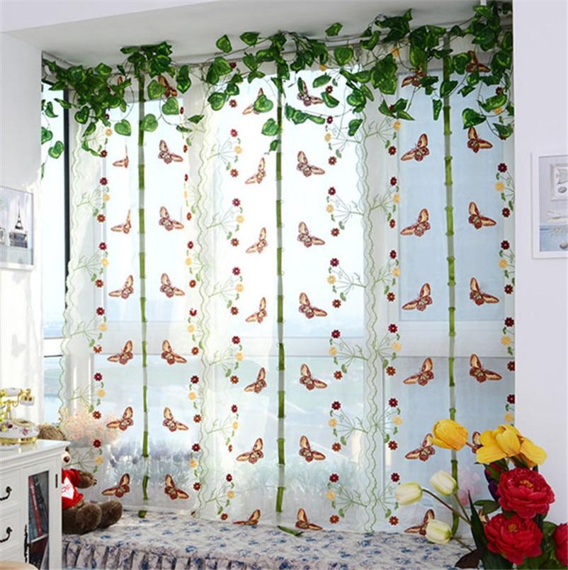 pastoral tul romanas ventana cortina bordada escarpada para cocina sala de estar del dormitorio