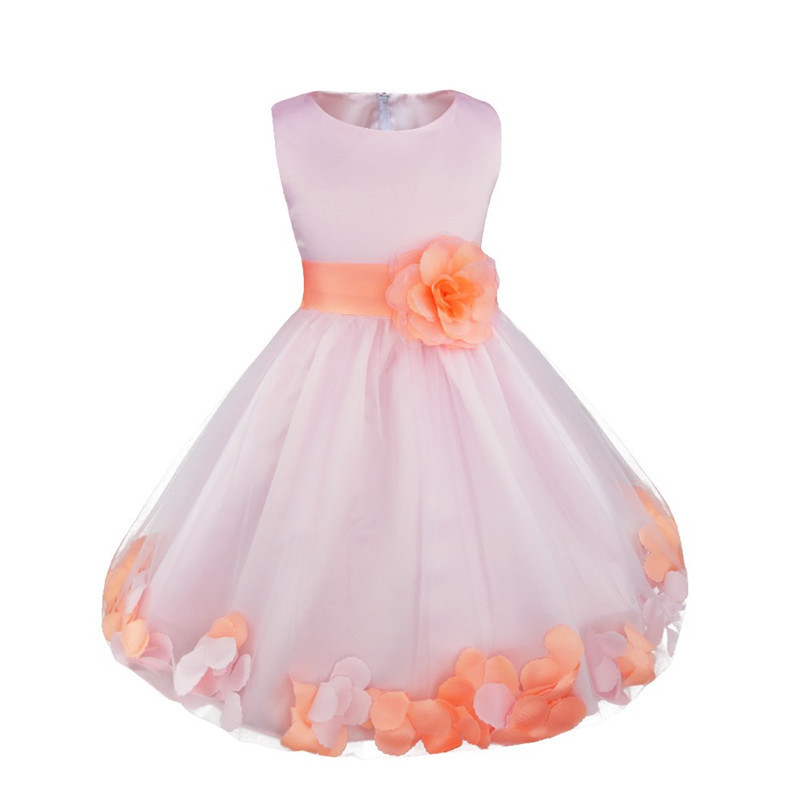 Kids Infant Girls Flower Petals Dress Children Bridesmaid Toddler Elegant Dress Pageant Wedding Bridal Tulle Formal