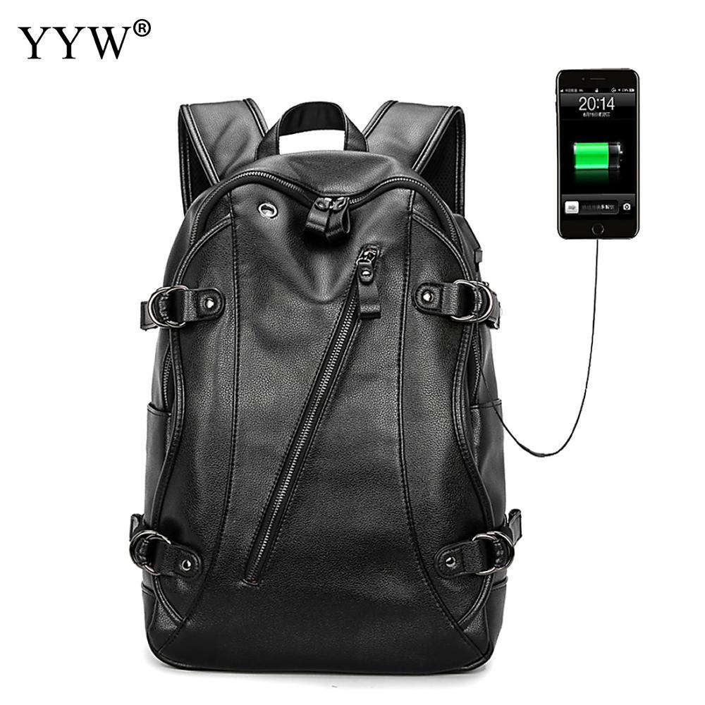 Leather Backpack Western With USB Interface Male Laptop Back Pack Black Men Business Backpacks For School Travel Bag Mochila retrospect of western travel