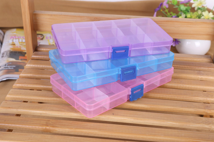 1pcs Plastic 8 /10/15 Slots Adjustable Jewelry Packaging Box Transparent Tool Case Craft Organizer Box Jewelry Accessory Storage