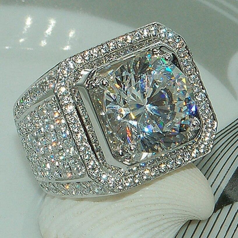 95% DE Luxo GALÁXIA Clássico Dos Homens Do Vintage Anel de Prata Banhado A Verdadeira 289 pcs cz 8mm Diamant Pedra Anéis De Casamento Para Homens Tamanho 8/9/10/11