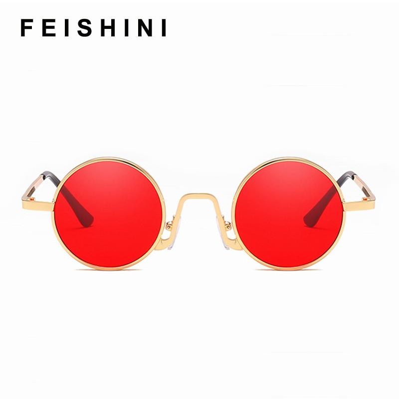 Feishini Round Sunglasses Eyewear Shades Metal Yellow Women Luxury Brand Designer Red Lens