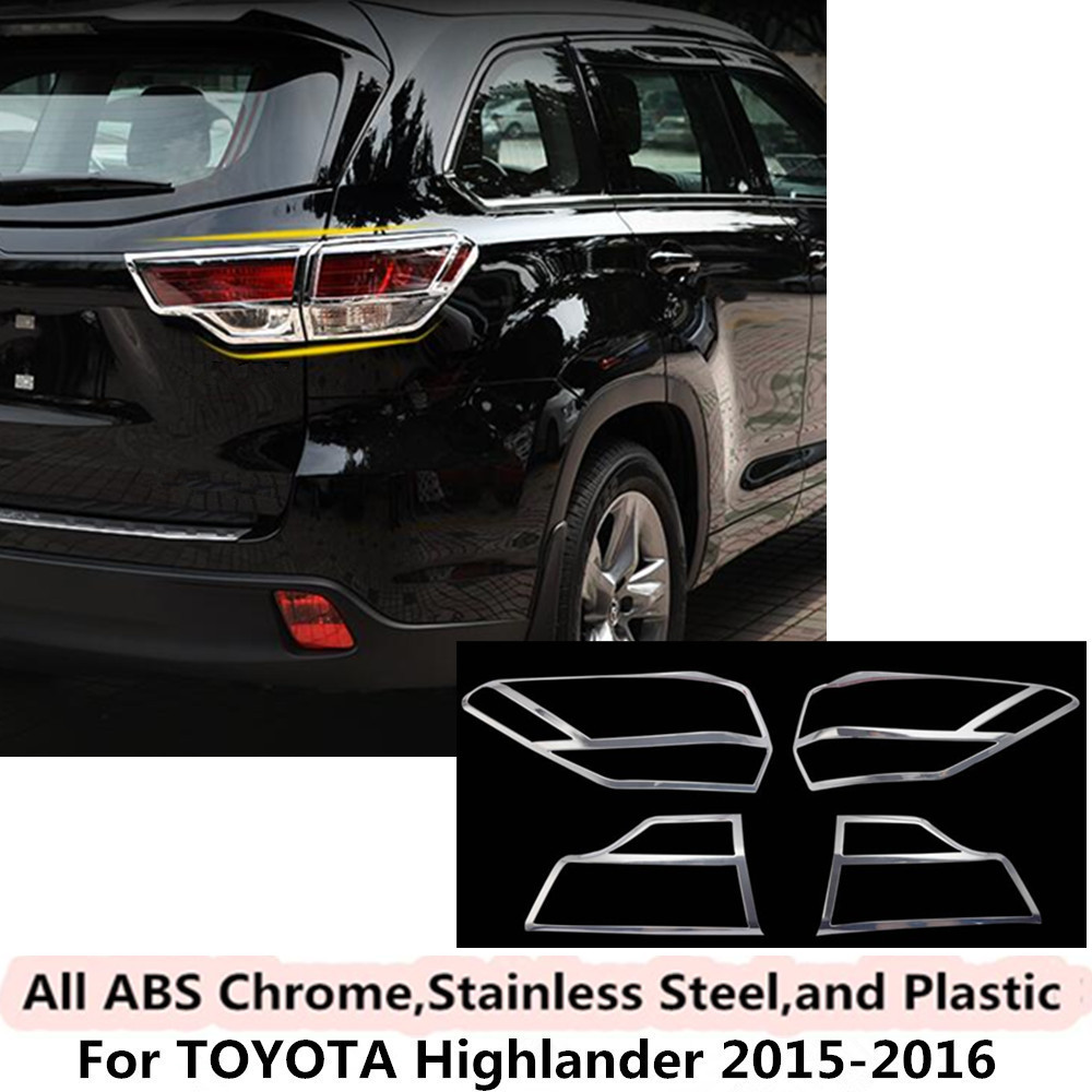 For Toyota Highlander 2015 2016 car body detector frame styling ABS chrome cover trim back tail rear light lamp frame parts 4pcs