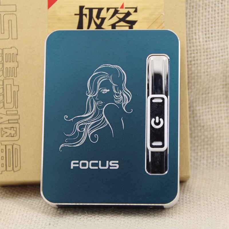 10 cigarettes automatic smoke cigarette case box windproof USB rechargeable lighter Extra heating wire
