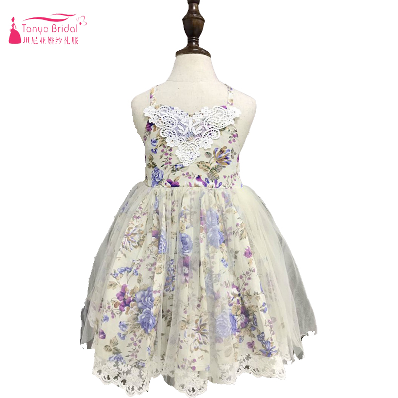 Halter Print   Flower     Girls     Dresses   Fairy Tulle Lace Edge Bohemian Baby Casual wear China In Stock ZF053
