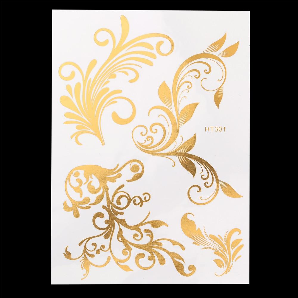 1 Sheet 8 Designs Gold Silver Flash Metallic Temporary Tattoo Sticker 2