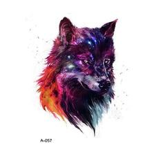 WYUEN Design Wolf Temporary Tattoo for Adults Colorful Waterproof Tatoo Sticker Women Body Art Fake Tattoo A-057