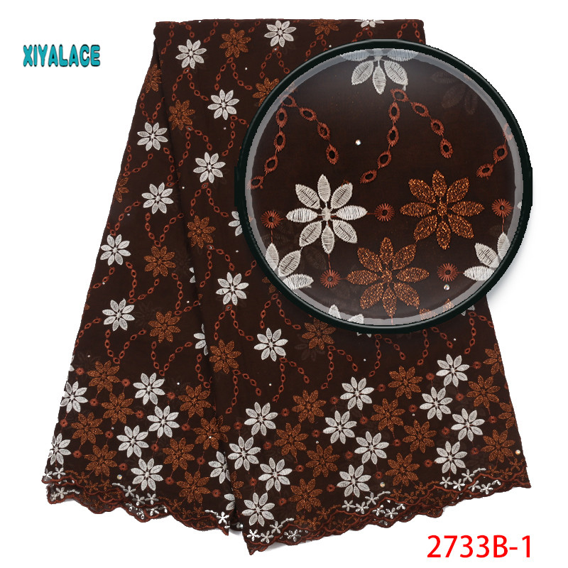 Brown 2019 African Lace Fabrics Nigerian Swiss Voile Lace High Quality French Voile Lace Switzerland For Wedding YA2733B-1
