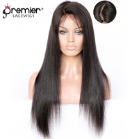 PREMIER LACE WIGS 4.5 Super Deep C Side Part Lace Front Wigs,Indian Remy Hair Yaki Straight,Pre plucked Hairline [DFW01]