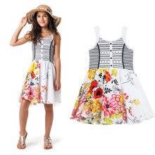 2016 new fashion girls summer Catimini designer flower print stripe suspender dress kids girls sweet princess dresses