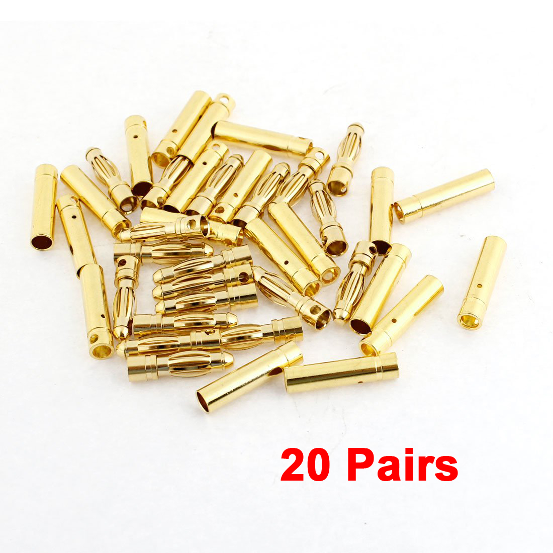 New 20 Pairs Gold Tone Metal RC Banana Bullet Plug Connector Male Female 4mm цена
