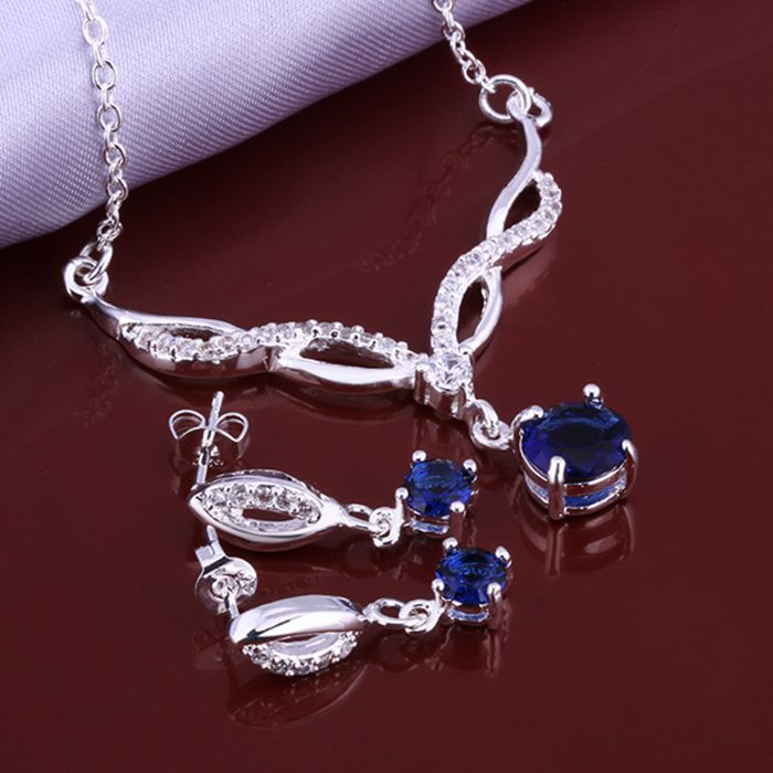 Hot Selling 925 Fashion Blue Month E N Jewelry Set Smts642