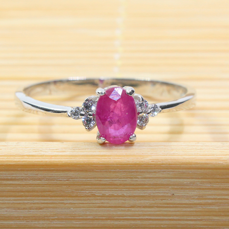 Image 2 - Real 925 silver gemstone ring for engagement  0.5 ct natural ruby  silver ring solid silver ruby ring romantic gift for girlgemstone  rings silvergift for girlfriendgift gifts
