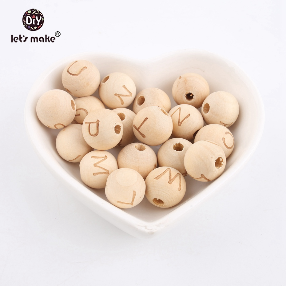 Let s Make Wholesale 1000pc 14mm Wooden Round Letters Food Grade Wooden Teething Making Jewelry Necklace