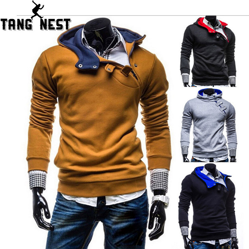 TANGNEST Men Hoodie 2019 Diagonal Pull Personality Trend Foreign Casual Men's Long-sleeved Sweatershirt Asian Size 3XL MWW1474